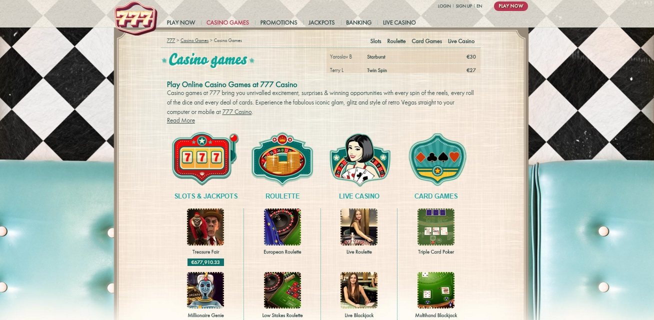 777 casino games and account interface