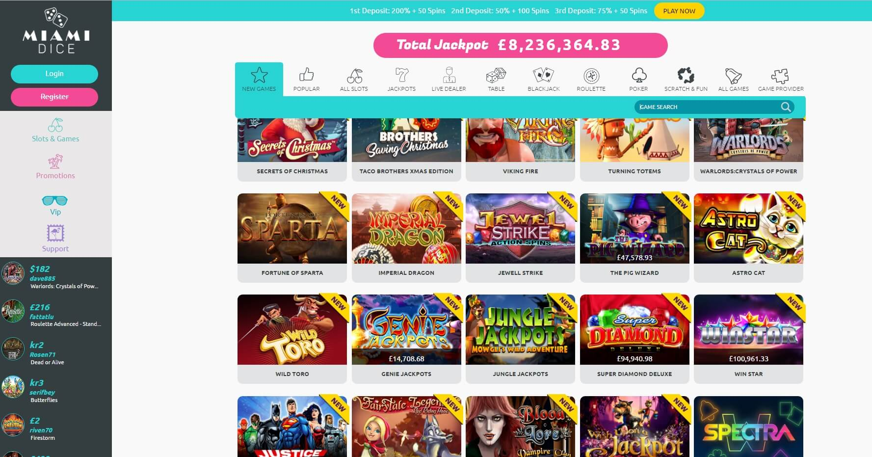 miami dice casino games and slots